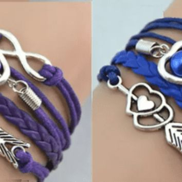 Forever Love Handmade Braided Leather Friendship Bracelet - Three Colors To Choose