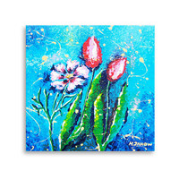 Flower Art Original Acrylic Painting, Floral Painting on Canvas, Pink Blue Wall Art Decor 12x12
