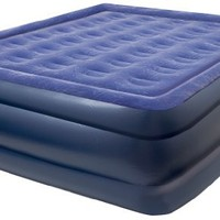Pure Comfort Flock Top Air Mattress, Raised Profile Queen Sized Bed, Blue