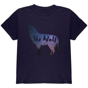 ONETOW She Wolf Night Sky Landscape Youth T Shirt