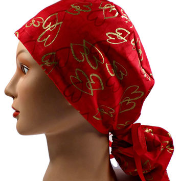 Women's Ponytail Surgical Scrub Hat Cap in Gold Hearts on Red