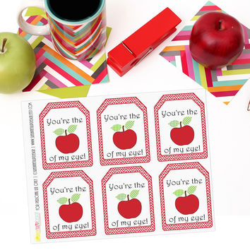 Printable Teacher Appreciation Gift Tags You're the Apple of my Eye by SUNSHINETULIPDESIGN