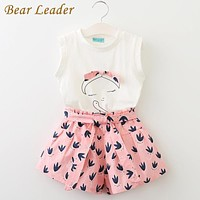 Girls Clothing Sets Children Clothing Sleeveless T-shirt+Print Pants for Kids Clothing Sets Baby Clothes