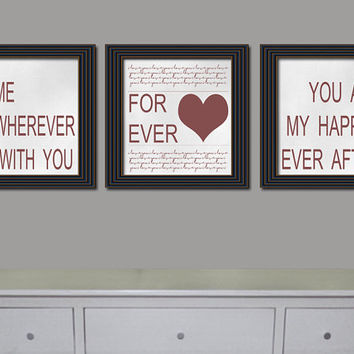 Set of three digital download Living Room Bedroom Hallway Wall Art Decor Home is Wherever I'm With You Picture Print Graphic Art Home Decor