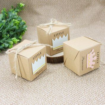 100PCS Little Prince Princess Kraft Paper Candy Boxes Baby Shower Party Gift Box With Hemp Rope