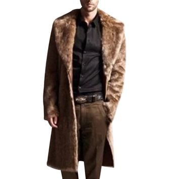 Long Faux Fur Coat Men Winter Faux Fur Jacket On Both Sides Coat Mens Punk Parka Jackets Full Length Leather Overcoats Male Coat
