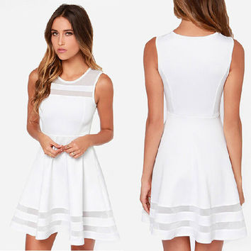 White Dress Chiffon Mesh Women Vestidos Femininos 2016 Summer Sleeveless Chiffon Dresses Beach Party Dress Vestido Branco Curto