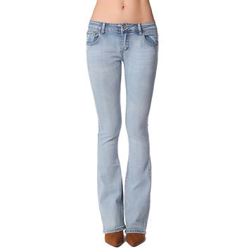 Skinny flare jeans with low-rise waistband