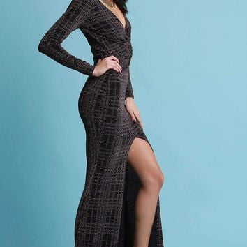 Metallic Glitter Grid Twisted Long Sleeves Front Slit Maxi Dress