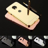 Fashion Luxury Rose Gold Mirror Case for Motorola Moto G5 case Back Cover for Motorola Moto G5 Plus Mobile Phone Shell
