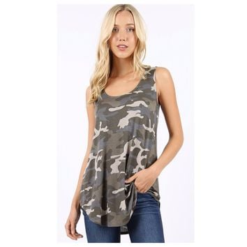 Adorable Me, Dusty Camouflage Sleeveless Top