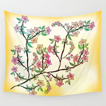 Cherry Blossoms Wall Tapestry by Famenxt