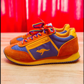 Vintage 80s Rainbow Orange Blue Yellow KangaROOS Running Gay Zippered Pouches Women's Suede Nylon Tennis Sneaker LBGTQ Shoes 8.5