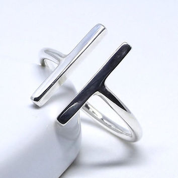 Chunky Parallel Bar Ring in 925 Sterling Silver, Modern Minimalist Ring