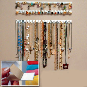 Adhesive Jewelry Earring Necklace Hanger Holder Organizer Display Rack Sticky Hooks Wall Mount Stand Tray Para VB297 P18 0.45