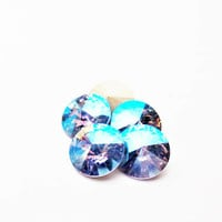 Six Light Sapphire 1122 12mm Foiled Swarovski Pointed Back Rivoli DKSJewelrydesigns