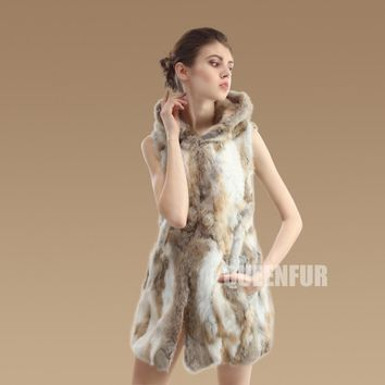 Genuine Knitted Rabbit Fur Vest Women 2015 New Fashion Sleeveless Hooded Md-long Slim Natural Thick Warm Coat Jacket ZL3322