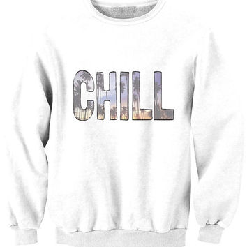 CHILL California tee available in BLACK WHITE and grey sweat sweater Tumblr blanc sweatshirt tumblr size S M L pizza 5sos 1d jb swag