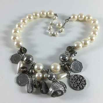 Vintage Retro Costume Jewelry Silver Toned Faux Pearl Bead Ring Coin Charm Necklace