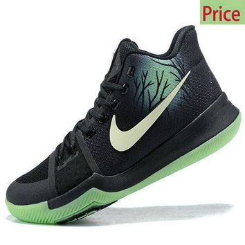 new style Kyrie 3 Nike Fear PE Black-Neon Green Basketball Shoe sneaker