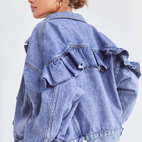 BDG Ruffle Denim Trucker Jacket | Urban Outfitters