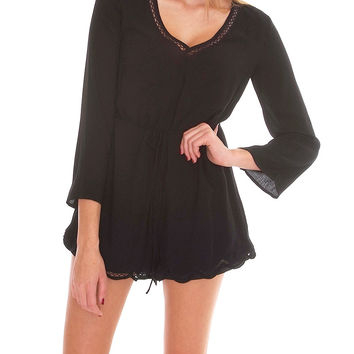 High Profile Long Sleeve Romper - Black