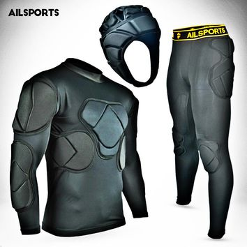 New Sports Safety Protection Kits Thicken Gear Soccer Goalkeeper Jersey Pants Football Goalie Helmet Knee Elbow Padded Protector