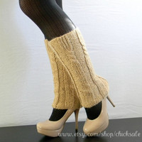 Handmade Legwarmers. Made of alpaca blend. Wheat color. Boots Cover. Winter Fashion. Gift for Her.