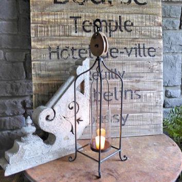 Vintage Tall Pulley Freestanding Candle Holder Lantern 26-in