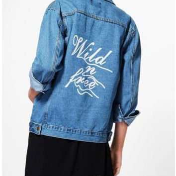 Oversize Slogan Print Denim Jacket