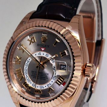 Rolex Sky-Dweller 18k Rose Gold Mens GMT Watch Box/Papers NEW 326135