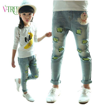 Spring girls clothing teen age baby girls jeans pants, fashion holes girls leggings demin image girls jeans