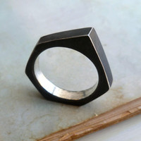 Industrial RIng - Size 11 - Black - Sterling Silver - Oxidized - Asymmetrical - Industrial Chic - Unisex - Nut and Bolt Jewelry