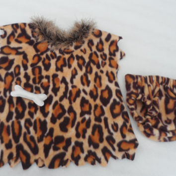 Childs Halloween cavegirl costume, baby, toddler, leopard print, pebbles, croods, theme outfit, sizes 3mths to 3years. MADE to ORDER
