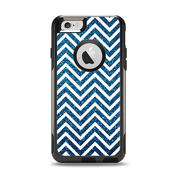 The White & Blue Glitter print Sharp Chevron Apple iPhone 6 Otterbox Commuter Case Skin Set