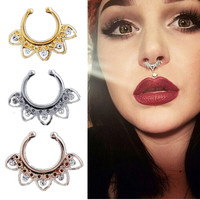2 Pcs Petal Hoop Nose Rings Septum Clip On Jewelry