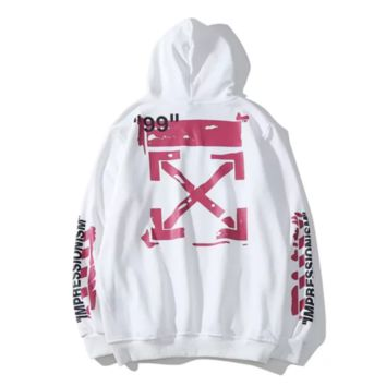 Off White New fashion letter cross arrow print couple hooded long sleeve sweater White