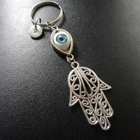 Hamsa protection hand keyring, keychain, bag charm, purse charm, monogram personalized custom gifts under 15 item No.895