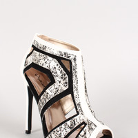 Qupid Leatherette Graffiti Caged Peep Toe Bootie