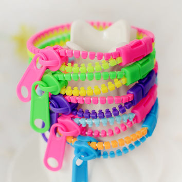B018 Double color Harajuku Zipper Bracelet Wristband Fluorescent color rainbow Levels Personality Gifts for Women Men jewelry