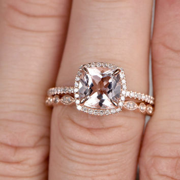 2pcs Morganite Bridal Ring Set,Engagement ring Rose gold,Curved Diamond wedding band,14k,8x8mm Cushion,Promise Ring,Stacking matching band