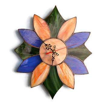 Wall Clock in Retro style in green, orange, blue and wood brown colors - Unique Stained Glass Wall Decor - Wall art
