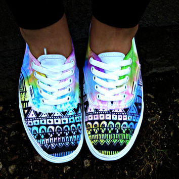Watercolor Tie Dye Tribal Vans