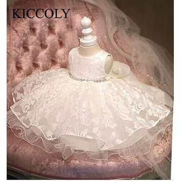 High Quality Baby Girl Dress Glitz Chiffon Baptism Dress for Girl Infant 1 Year Birthday Dress Baby Chirstening Dress for Infant