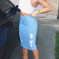 Damsel In Distressed Denim Skirt