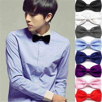 High-end The British Men's Plain Bowtie Polyester Pre-Tied Wedding Tuxedo Bow Tie Necktie Accessory