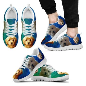 Beautiful Goldendoodle Print Sneakers For Men (White/Black)- Free Shipping