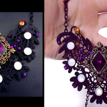Victorian necklace, black crystal necklace, metal lace necklace, gothic necklace, opal necklace, statement necklace, purple crystal, OOAK