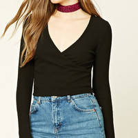 Ribbed Knit Surplice Top