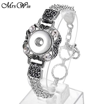 New Bohemian Snap Bracelet Buttons 18MM 20MM Silver Chain Bangle Watches Vintage women's Bracelets Jewelry